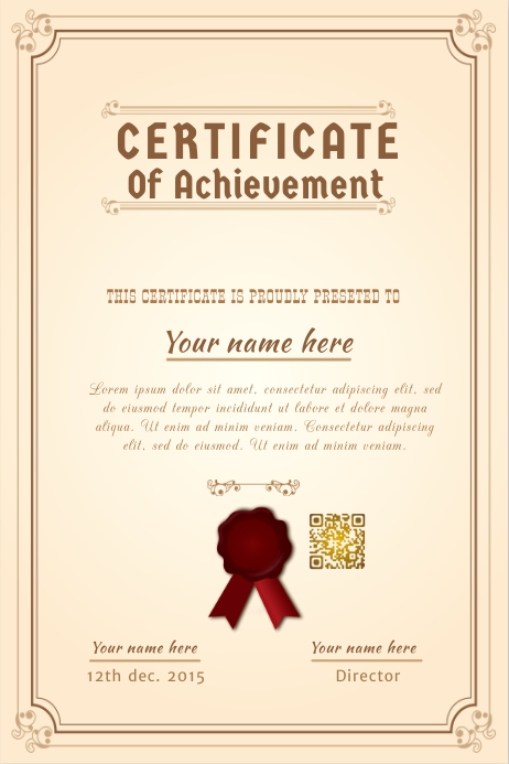 certificate template with a ribbon