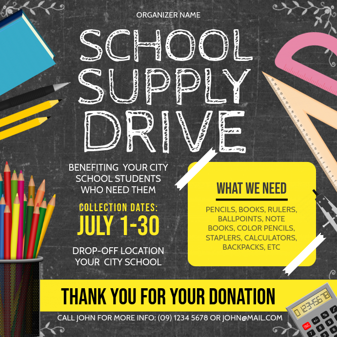 Chalboard Themed School Supply Drive Instagra Pos Instagram template
