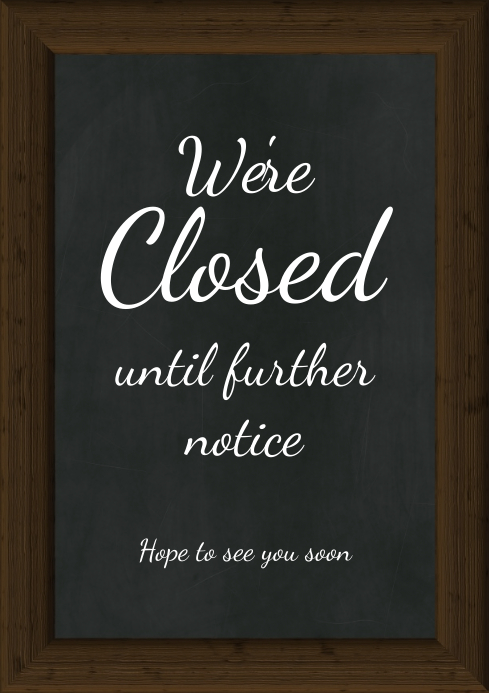 Chalk Board Flyer Poster Template Closed Sign A4