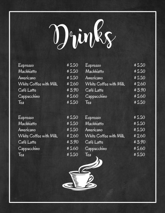 Chalk Board Hot Drinks Menu Bar Ad Price List Volante (Carta US) template