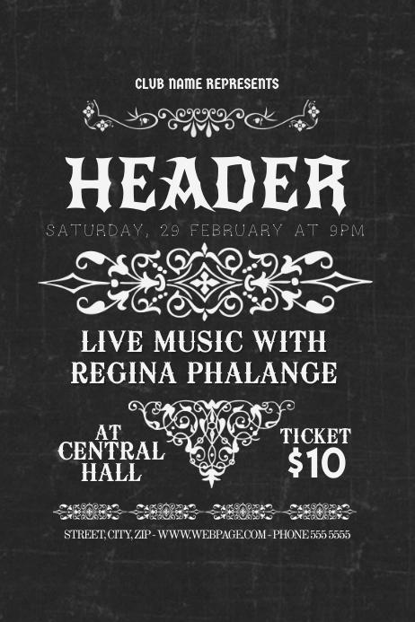 chalk old vintage concert flyer template postermywall. Black Bedroom Furniture Sets. Home Design Ideas