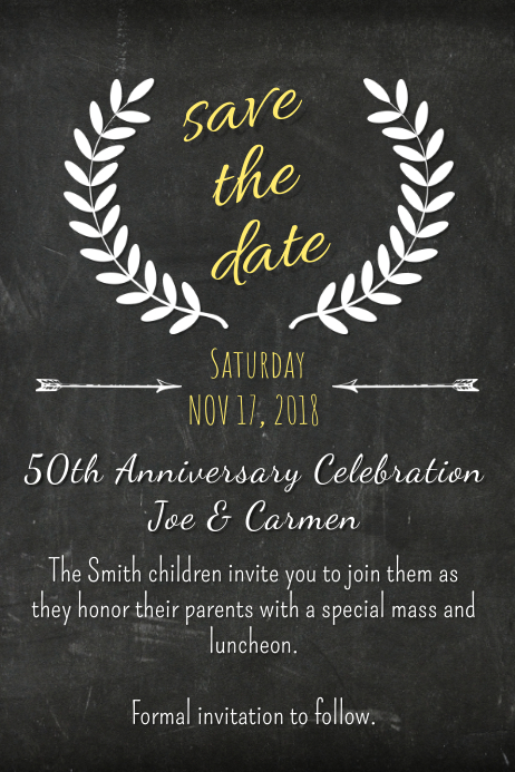 copy of chalk save the date template postermywall. Black Bedroom Furniture Sets. Home Design Ideas