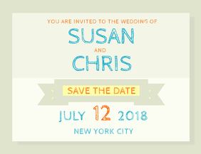 Chalk Save the Date Wedding Card Template