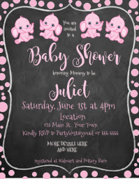 Chalkboard Baby Shower Invitation pink elephant