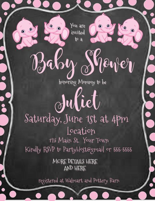Chalkboard Baby Shower Invitation pink elephant