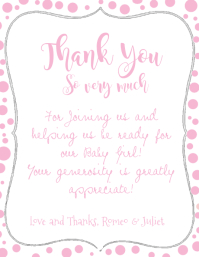 Chalkboard Baby Shower Pink Thank You