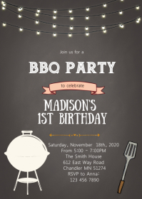 Chalkboard bbq birthday invitation