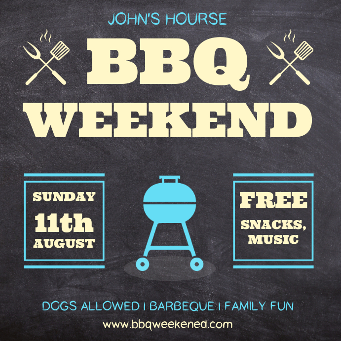 Chalkboard BBQ Party Invitation Square Template
