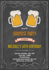 Chalkboard beer theme birthday invitation A6 template