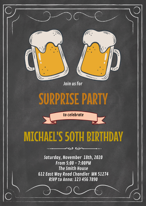 Chalkboard beer theme birthday invitation A6 template