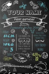 Space Theme Chalkboard Birthday Poster