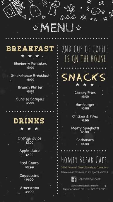 Chalkboard Breakfast Menu Digital Display Video