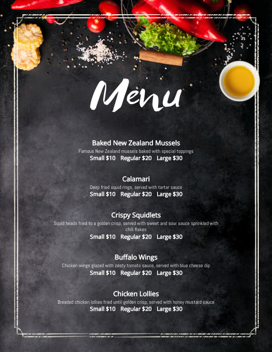 Chalkboard French Cafe Menu Template PosterMyWall - Small menu template