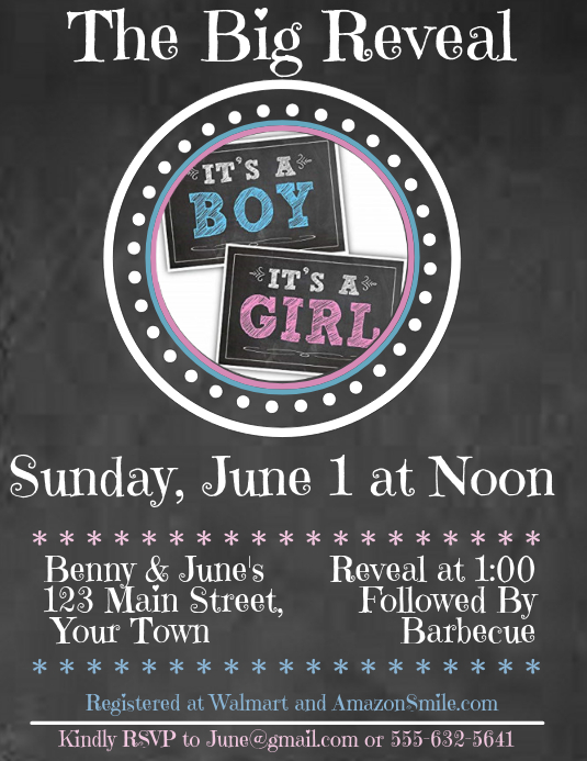 Chalkboard Gender Reveal Template