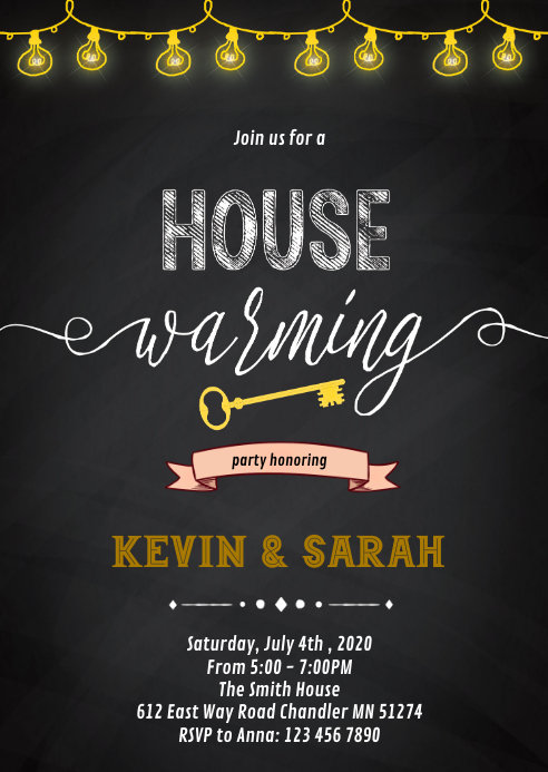 Chalkboard housewarming invitation A6 template