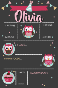 Chalkboard Little Girl Birth Announcement Birthday Poster