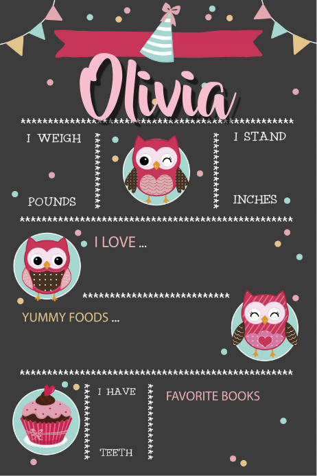 chalkboard little girl birth announcement birthday poster customize template
