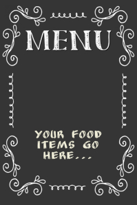 Chalkboard Menu Poster Flyer Restaurant Small Business