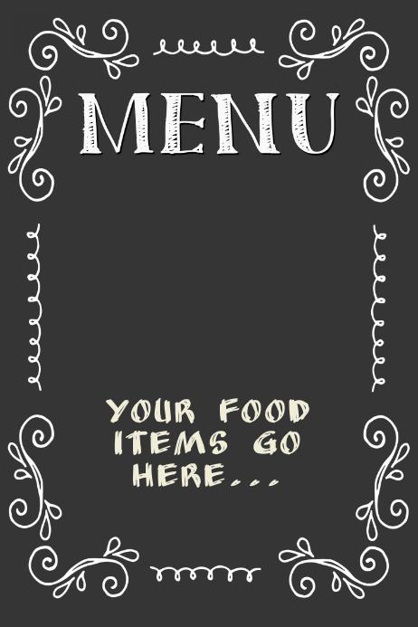 Chalkboard Menu Poster Flyer Restaurant Small Business