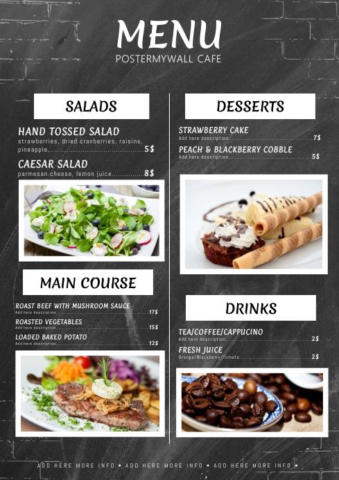Chalkboard menu template A4
