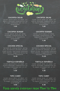 Vegan Vegetarian Food Restaurant Flyer Poster Menu Customizable Chalkboard Template