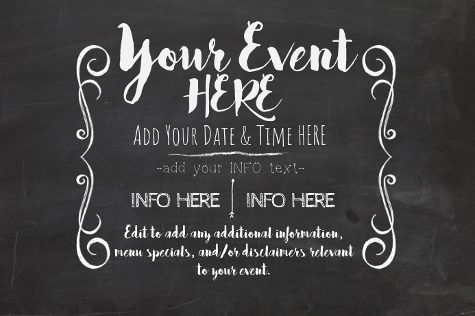 chalkboard menu school event chalk specials black board template postermywall. Black Bedroom Furniture Sets. Home Design Ideas