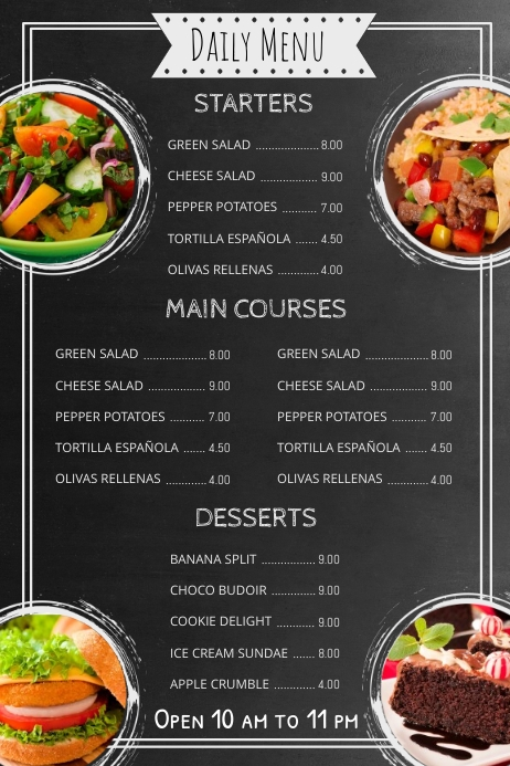copy of chalkboard menu template