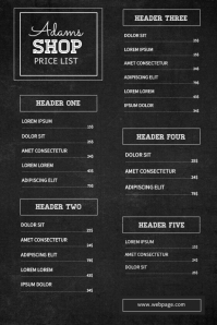 Chalkboard Price List Template