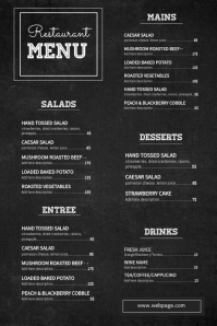 chalkboard restaurant pizza menu template โปสเตอร์