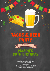 Chalkboard tacos beer invitation A6 template