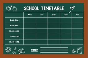 Chalkboard Themed School Timetable Poster template