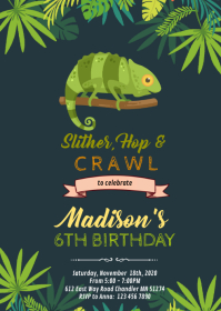 Chameleon Reptile birthday party invitation A6 template