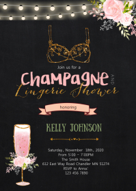 Champagne and lingerie shower party invite A6 template