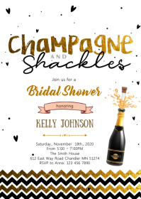 Champagne and Shackles party invitation A6 template