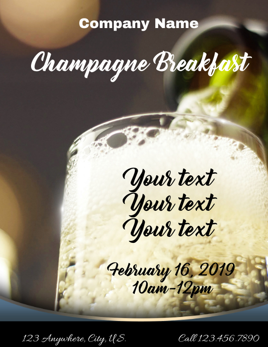 Champagne Breakfast Flyer (Letter pang-US) template