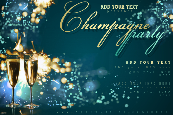 champagne drink bar celebration new year wine party firework customize template