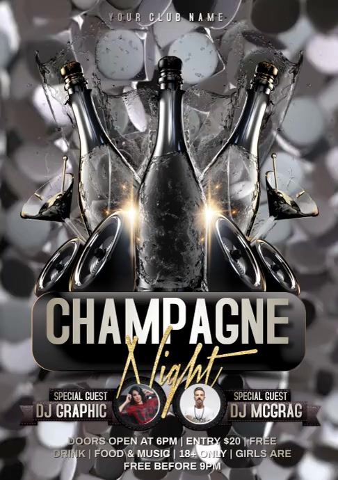 champagne night video A4 template