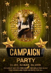 Champagne party video A4 template