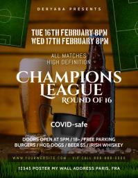 Champions League Beer Bar Pub Flyer Soccer