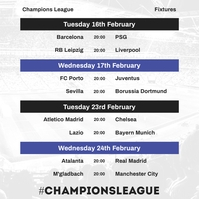 Champions League February Fixtures Instagram template