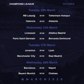 Champions League March Fixtures Instagram V2 template