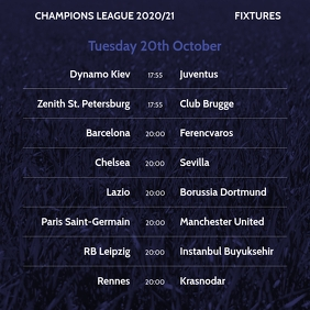 Champions League Soccer Football Fixtures Message Instagram template