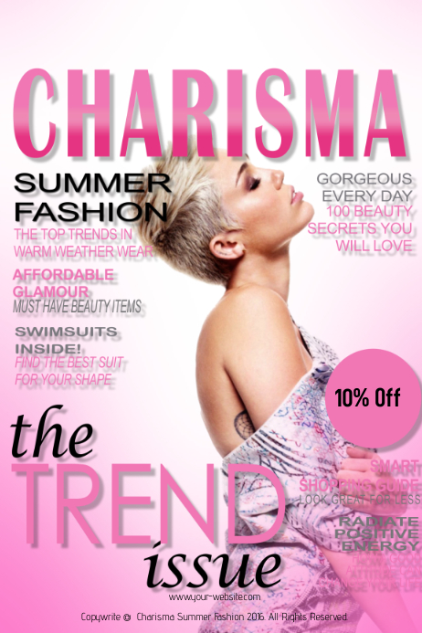 Charisma Summer Fashion Magazine Cover Template Postermywall