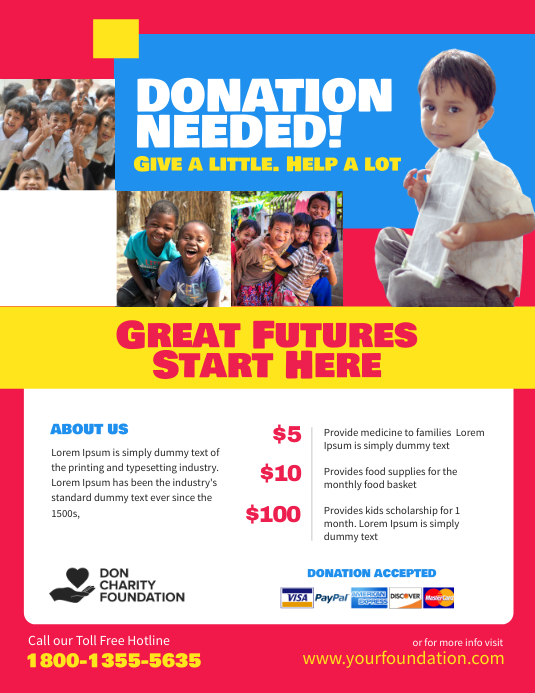 Charity Donation Fundraising Flyer Poster