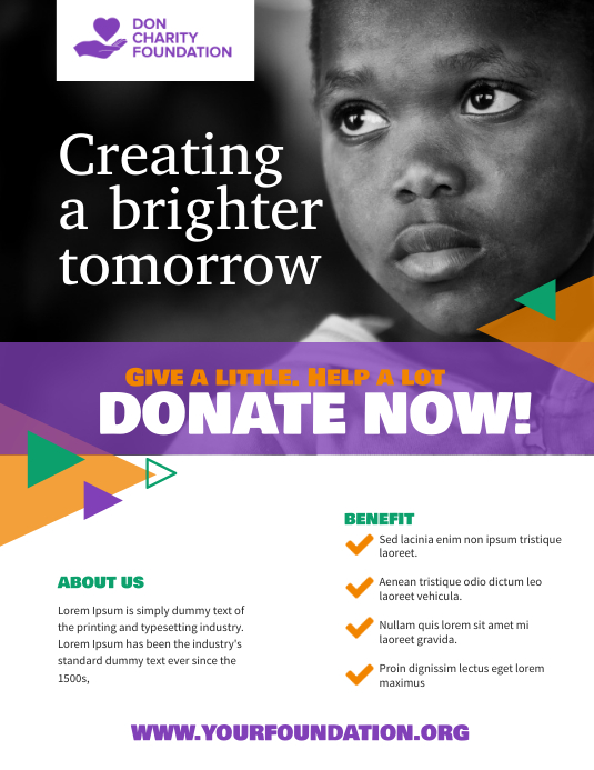Charity Donation Non Profit Organisation Flyer Template ใบปลิว (US Letter)
