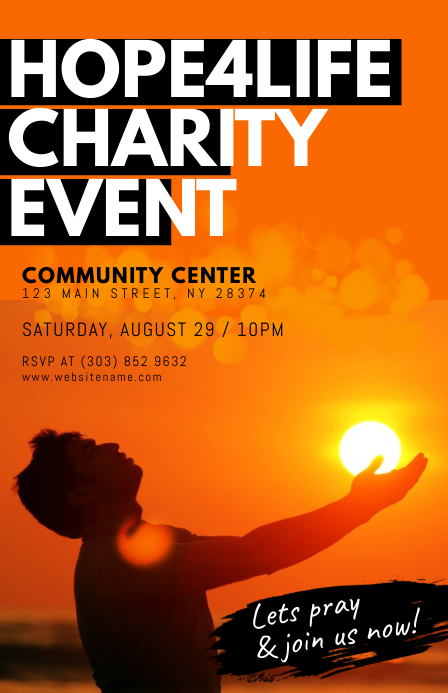 Charity Event Flyer Halv side bred template