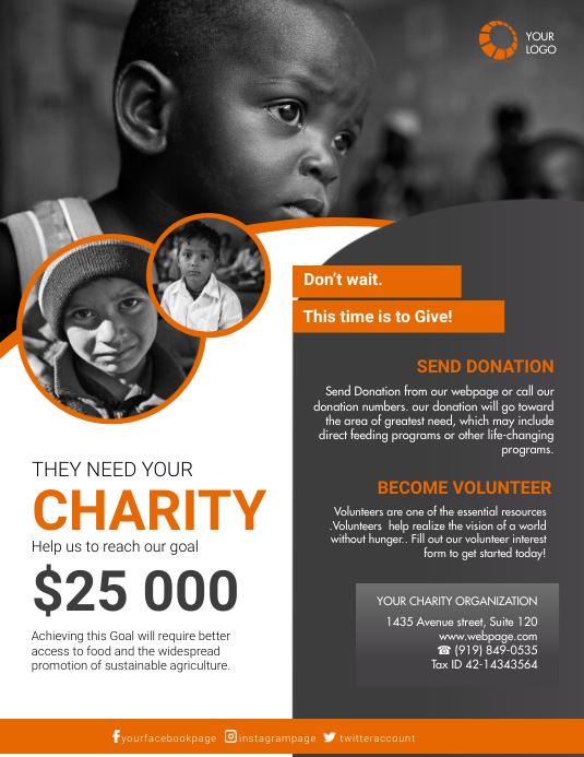 Charity Flyer Template for Free Løbeseddel (US Letter)