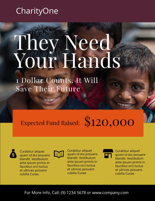 Charity Fundraiser Flyer Template Løbeseddel (US Letter)