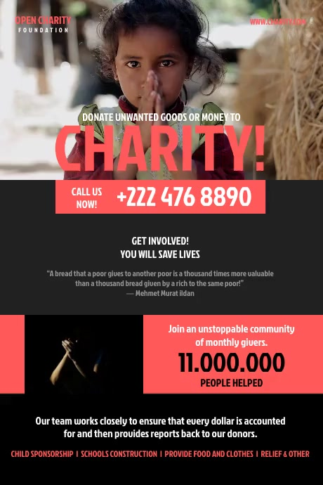 Charity Fundraising Flyer Affiche template