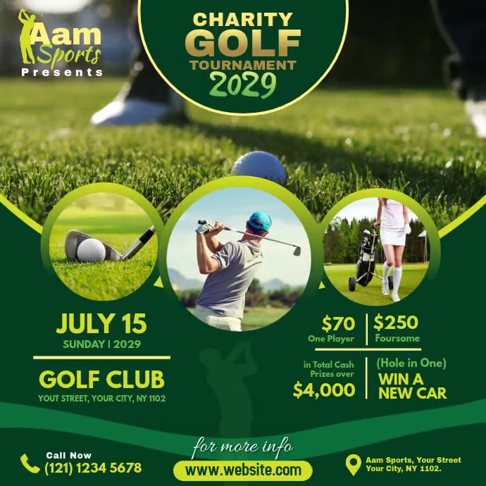 Charity Golf Tournament Ad Publicación de Instagram template